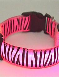 cheap -Dog Collar LED Lights Zebra Nylon Yellow Red Green Blue Pink