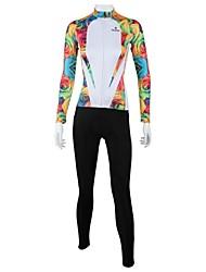 preiswerte -ILPALADINO Fahrradtrikots mit Fahrradhosen Damen Langarm Fahhrad Kleidungs-Sets Fahrradbekleidung Rasche Trocknung Windundurchlässig