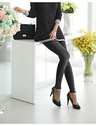 Damer Ensfarvet Legging,Lakket læder Normal
