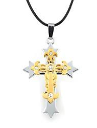 Недорогие -Ожерелье Ожерелья с подвесками Бижутерия Повседневные Крестообразной формы Сплав Кожа Подарок Черный