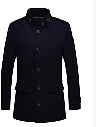 cheap -Men's Solid Casual Trench coat,Tweed Long Sleeve-Black / Blue / Gray