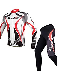 SANTIC Cycling Jersey with Tights Men's Long Sleeves Bike Jersey Tights Clothing Suits Breathable Reflective Strips Polyester Stripe