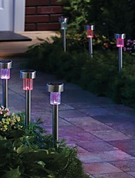 cheap -Pack of 8  Color Changing Solar Powered LED Rechargeable Stainless Steel Garden Lawn Light