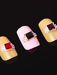 preiswerte -5pcs 3d Quadrat-Legierung Strass Nail Art Verzierungen (Farbe sortiert)