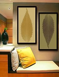 baratos -Floral/Botânico / Fantasia Quadros Emoldurados / Conjunto Emoldurado Wall Art,PVC Preto Sem Cartolina de Passepartout com frame Wall Art
