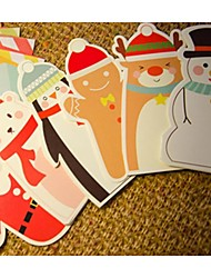 cheap -Christmas Cartoon Card Envelope Suit Set Of 6 (Random Design)