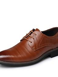 baratos -Homens sapatos Couro Primavera Outono Conforto Oxfords Preto Marrom Azul Amarelo