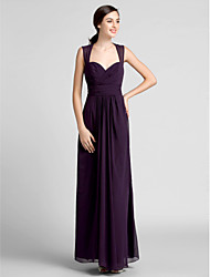 cheap -Sheath / Column Sweetheart Floor Length Chiffon Bridesmaid Dress with Draping Criss Cross Ruching by LAN TING BRIDE®