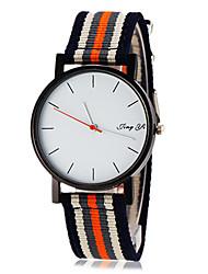 cheap -Men's Simple White Dial Stripe Fabric Band Quartz Wrist Watch (Assorted Colors) Cool Watches Unique Watches
