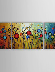 cheap -Hand-Painted AbstractModern Three Panels Canvas Oil Painting For Home Decoration