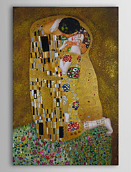 cheap -Oil Paintings Kiss by Gustav Klimt  Hand-painted Canvas with Gold Foil Ready to Hang