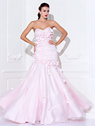 Mermaid / Trumpet Spaghetti Straps Sweetheart Floor Length Organza Prom Dress with Beading by TS Couture®