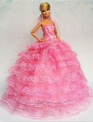 cheap -Party/Evening Dresses For Barbie Doll Lace Organza Dress For Girl's Doll Toy