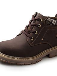 Homens sapatos Couro Inverno Outono Conforto Botas Botas Curtas / Ankle Cadarço para Casual Escritório e Carreira Marrom Amarelo