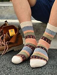 Men's Wool Socks Thick Jacquard National Wind Retro Socks