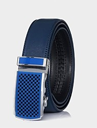 baratos -correia de couro genuíno cintos azul fivela automática cintos masculinos