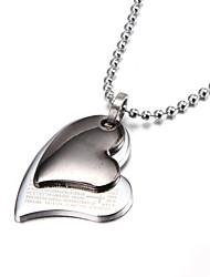 economico -due d'argento strati collana pendente in lega di zinco del cuore bibbia