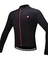 baratos -SANTIC Homens Camisa para Ciclismo Preto Sólido Moto Camisa / Roupas Para Esporte / Blusas Térmico / Quente, Forro de Velocino, Respirável
