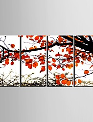 e-Home® allungata tela arte autunno foglie rosse insieme pittura decorativa di 4