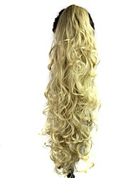 Claw Clip Synthetic 28 Inch Light Blonde Long Curly Ponytail
