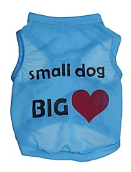Недорогие -Кошка Собака Футболка Одежда для собак С сердцем Буквы и цифры Синий Розовый Терилен Костюм Для домашних животных