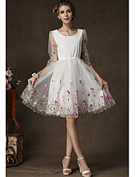 cheap -METOO Women's Jacquard White Dresses , Vintage / Sexy / Party Round Long Sleeve