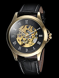 FORSINING® Men's Roman Number Hollow Dial Gold Case Leather Band Automatic Self Wind Dress Watch Cool Watch Unique Watch