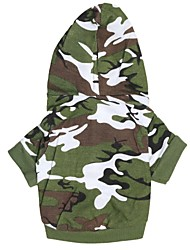economico -Cane Felpe con cappuccio Abbigliamento per cani Traspirante Di tendenza Camouflage Verde Costume Per animali domestici