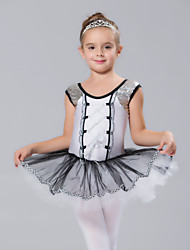 cheap -Kids' Dancewear Dresses Children's Spandex Tulle Sequins Short Sleeve