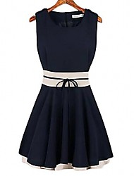 cheap -Women's Cute A Line Sheath Dress - Color Block, Bow