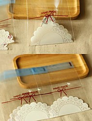 50pcs White Lace OPP Self Adhesive Cookie Bakery Candy Biscuit Chocolate Jewelry Gift Plastic Packaging Bag