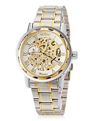 WINNER Da uomo Orologio scheletro orologio meccanico Meccanico a carica manuale Orologi con incisioni Acciaio inossidabile Banda Di lusso