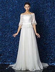 baratos -Lanting Bride® Linha A / Princesa Pequeno / Tamanhos Grandes Vestido de Noiva - Elegante e Luxuoso / Glamouroso e Dramático Renda Floral