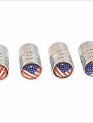 cheap -DIY American Flag Pattern Universal Tire Air Valve Caps--Silver(4PCS)