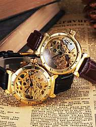 cheap -CJIABA Men's Gold Skeleton Leather Band Automatic Self Wind Dress Watch (Assorted Colors) Wrist Watch Cool Watch Unique Watch