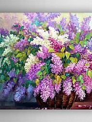 cheap -Oil Painting Hand Painted - Floral / Botanical Comtemporary Canvas