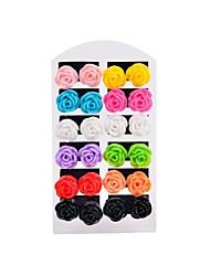 Da donna Orecchini a bottone Colorato bigiotteria Resina A forma di fiore Gioielli Per Matrimonio Feste Quotidiano Casual Sport