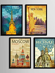 cheap -Architecture Framed Canvas / Framed Set Wall Art,PVC Black No Mat With Frame Wall Art