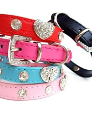 cheap -Dog Collar Rhinestone PU Leather Black Rose Red Blue Pink