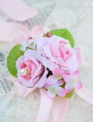 Bouquet sposa Legato Rose Braccialetto floreale Matrimonio Partito / sera Cotone