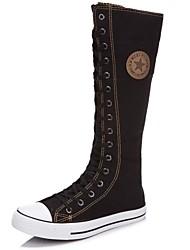 Calçados Femininos - Botas - Arrendondado / Botas da Moda - Rasteiro - Preto / Vermelho / Branco - Lona - Casual / Social