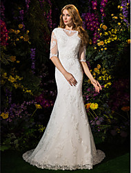 Mermaid / Trumpet Bateau Neck Court Train Lace Tulle Wedding Dress with Beading Appliques by LAN TING BRIDE®