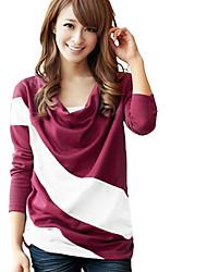 abordables -raya cuello redondo en forma suelta la camiseta de las mujeres yuwinne
