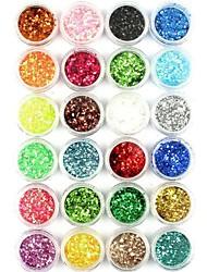 abordables -24pcs del arte del clavo del arte del clavo del polvo del brillo del polvo de aluminio en polvo arylic para las decoraciones de uñas