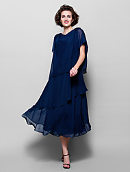 cheap -A-Line Cowl Neck Tea Length Chiffon Mother of the Bride Dress with Beading / Appliques by LAN TING BRIDE® / Split
