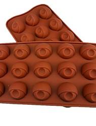 15 Hole Eye Shape Cake Ice Jelly Chocolate Molds,Silicone 21.5×10.5×2 CM(8.5×4.1×0.8INCH)