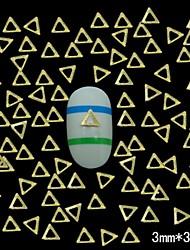 billige -100stk gull hul trekant 3mm DIY metall klinke studs nail art dekorasjon