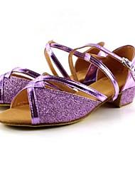 "Women's Kids' Latin Leatherette Sandal Buckle Cuban Heel Purple 1"" - 1 3/4"" Non Customizable"
