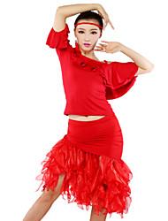 baratos -Dança Latina Roupa Mulheres Seda tecida com Cetim