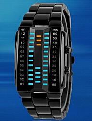 preiswerte -Herren Sportuhr Einzigartige kreative Uhr Digitaluhr LED Wasserdicht digital Legierung Band Luxuriös Schwarz Silber